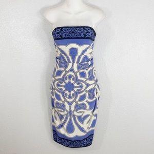 Nicole Miller blue white silk strapless dress